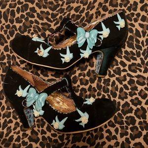 Irregular Choice black bird T-strap heels